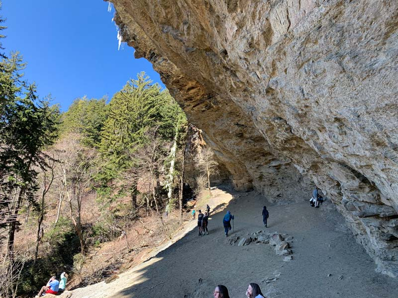 Alum Cave Bluffs with icicles hanging