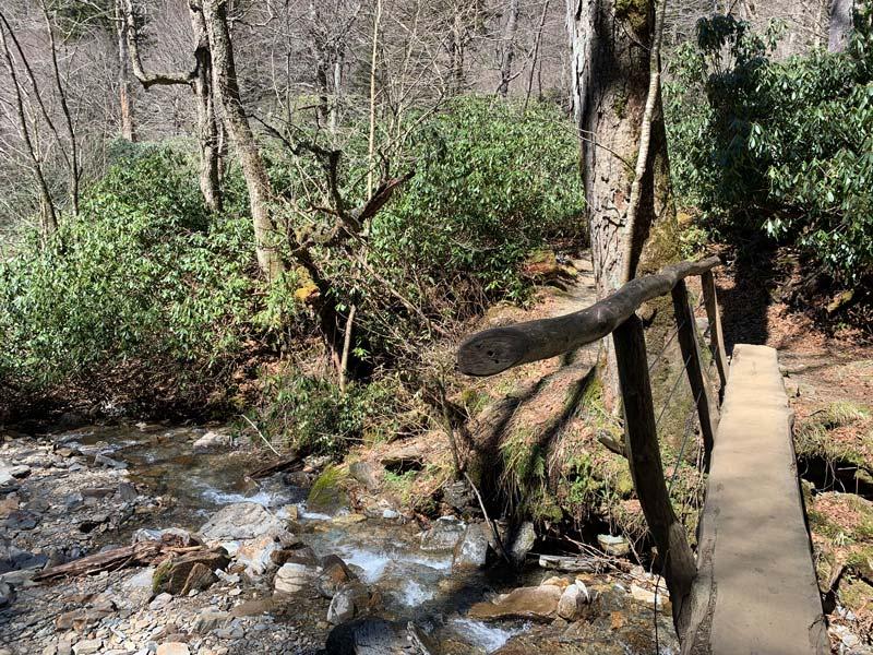 narrow bridge on Alum Cave Trail