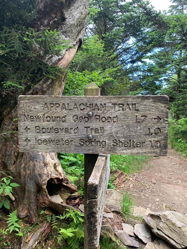 AT sign: Newfound Gap, Boulevard, Icewater Spring Shelter