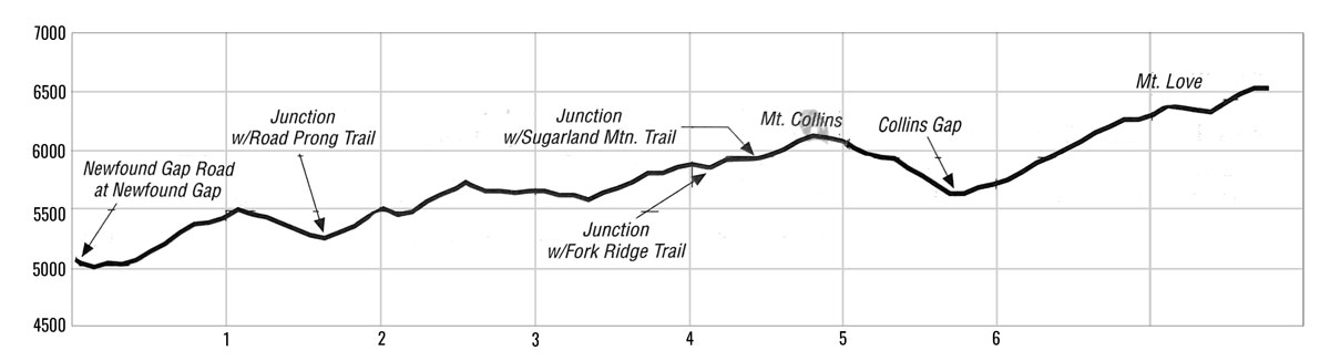 Newfound Gap to Clingmans Dome Elevation Profile