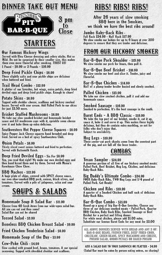 Bennett S Pit Bar B Que Pigeon Forge Restaurants