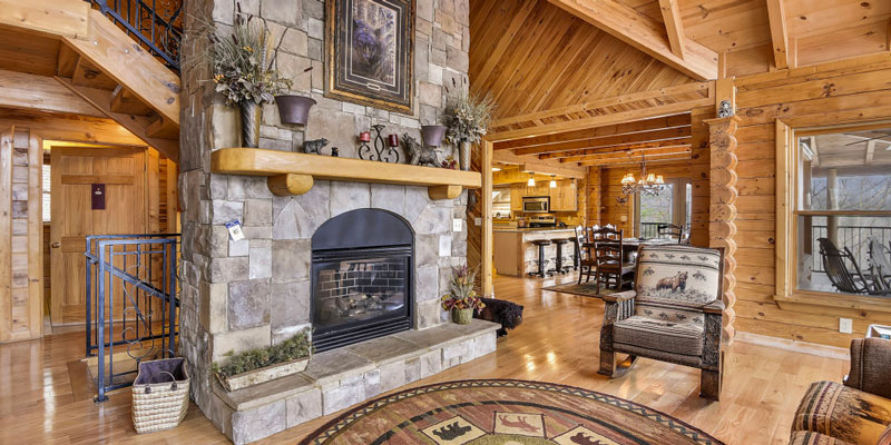 Big Bear Lodge living room with fireplace