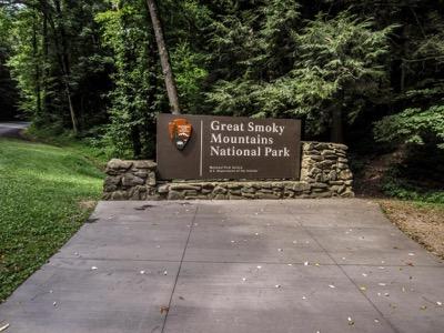 View of Gatlinburg Bypass Park Entrance Sign