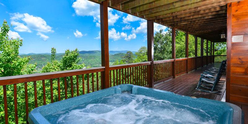 Getaway Mountain Lodge balcony with mountain view & hot tub