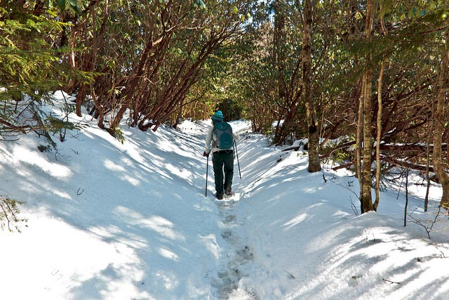 Man hiking in the snow. Click to read about winter hikes.