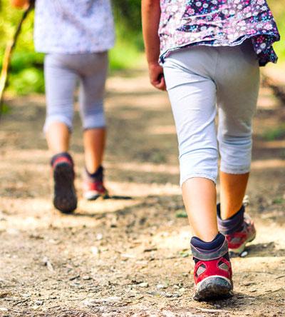 Two kids hiking