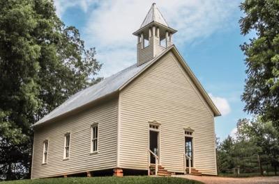 View of Cades Cove Methodist Church