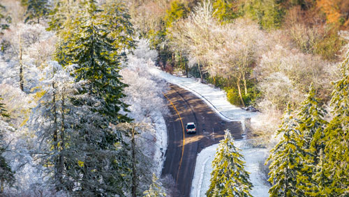 Snowy roads of Newfound Gap