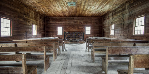 The Primitive Baptist Church in Cades Cove - interior and exterior