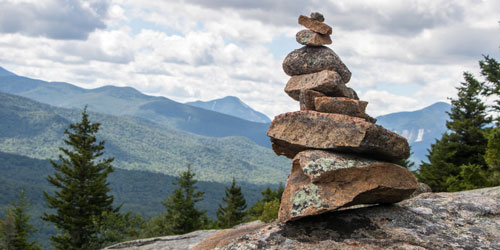 Manmade stacked rock cairn