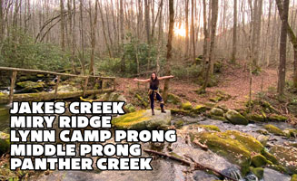 Smoky Mountain Loop: Jakes Creek, Miry Ridge, Lynn Camp Prong, Middle Prong + Panther Creek (17.7 Miles): Click to read more