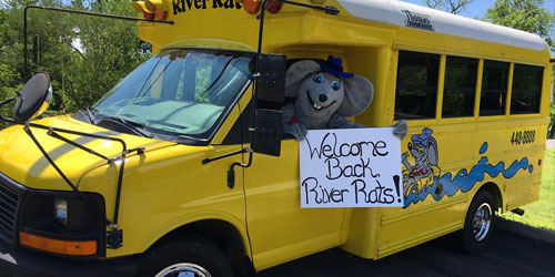 The Toober Oober yellow bus parked and ready to welcome guests at River Rat