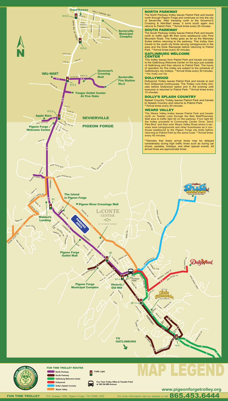 pigeon forge trolley route