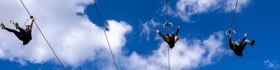 People ziplining